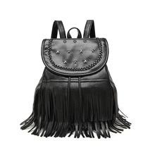 Новые заклепки рюкзак дамы раскладушка в полоску модная одежда в европейском стиле из мягкой искусственной кожи сбоку девушка рюкзак путешествия