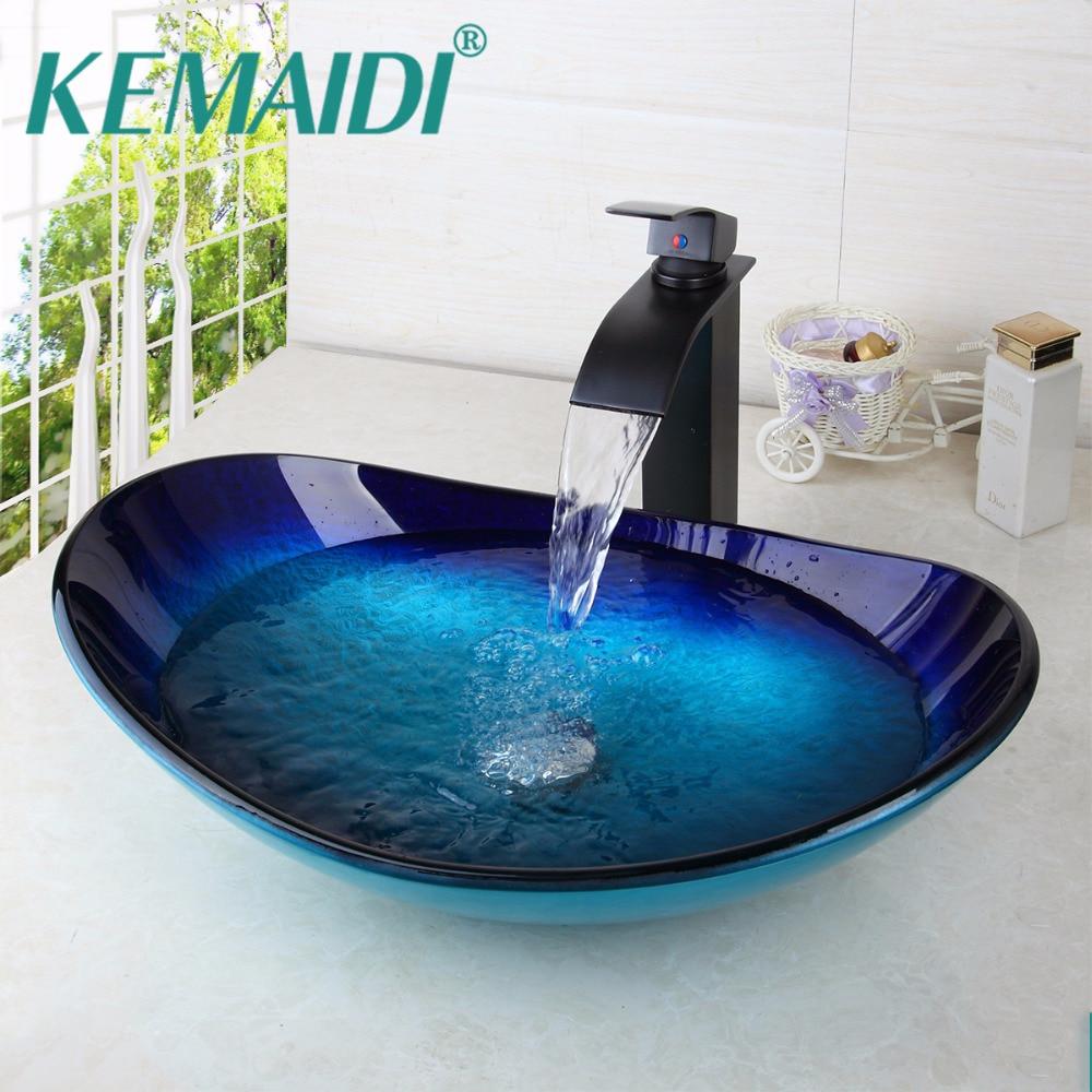 KEMAIDI Bathroom Wash Basin Tempered Glass Brass Basin Hand Painting Victory <font><b>Sink</b></font> Vessel <font><b>Sink</b></font>,Brass under Counter Basin Wash