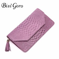 Bisi Goro 2017 New Women Wallet Cowhide Leather Wallet Women Serpentine Lady Purse High Capacity Clutch
