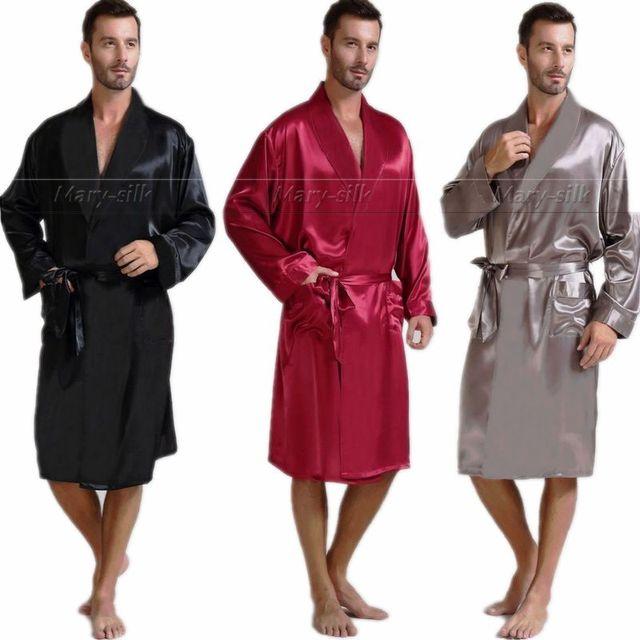 Мужская Шелковый Атлас Пижамы Пижамы Халат Халаты Халат Ночная Рубашка S ~ 3XL Большой и Высокий