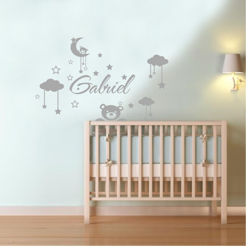 Customized Personalized Kids Name DIY Vinyl Wall Stickers Clouds Moon And  Stars Cartoon Decorative Wall Decals For Babys Room In Wall Stickers From  Home ...