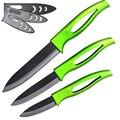 """XYJ абсолютно кухонные принадлежности нож 3 ''нож для очистки овощей 4"""" утилита 5 ''нарезки керамический нож зеленый ручка черный клинок инструменты для приготовления пищи"""