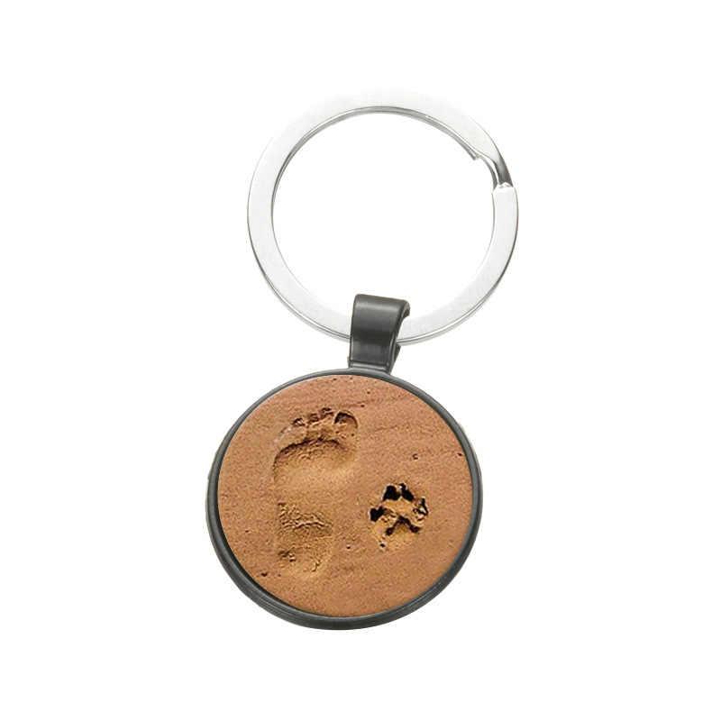 SONGDA милые люди Маленькие ноги и кошка собака пляж брелок для ключей с отпечатком ноги сделанный вручную стеклянный кулон металлический брелок для любимого питомца