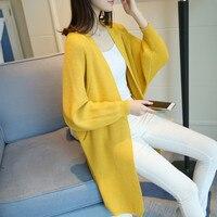 2019 pocket sweater outerwear Medium long all match cardigan women loose batwing sleeve sweater women