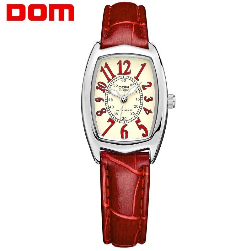DOM Роскошные брендовые водонепроницаемые Стиль Часы кварцевые кожа женщины reloj de las mujeres часы женские