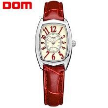 Dom marca de lujo a prueba de agua estilo reloj de cuero del cuarzo de las mujeres reloj de las mujeres mira a las mujeres