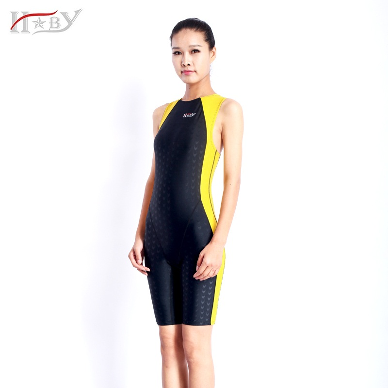 HXBY Professional Women Swimsuit Chlorine Resistant One Piece back zip Swimwear sharkskin competition swimsuit large size