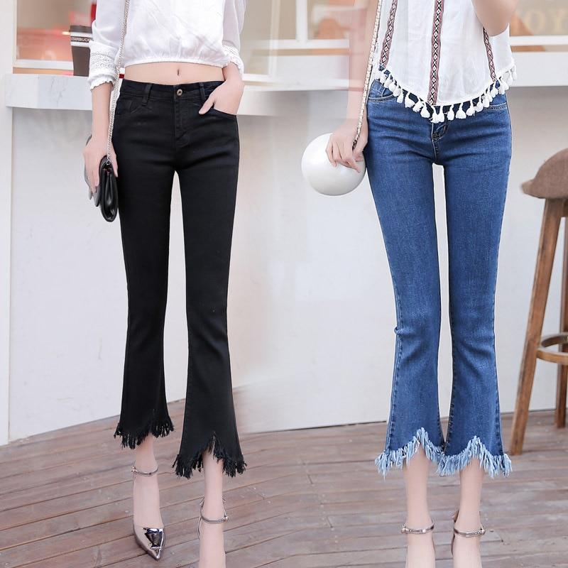 2017 spring and summer flannel pants female nine pants elastic jeans fringes side lady summer short