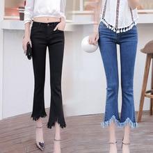 2017 весной и летом фланелевые брюки женские девять брюки эластичные джинсы бахромой стороны леди летние короткие джинсы