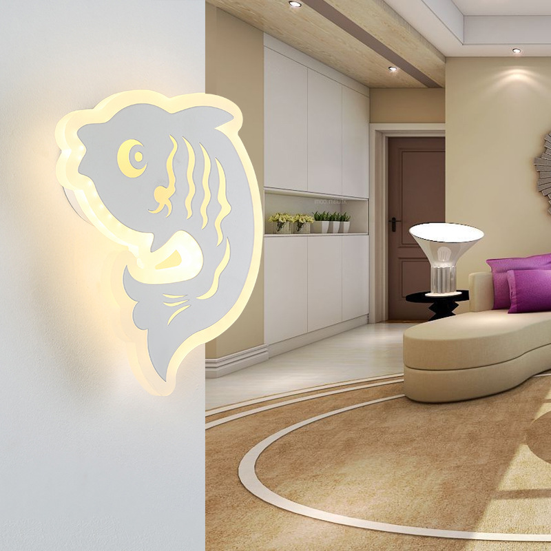 Simple Bedroom Bedside LED Wall Lamp Creative Aisle Lamp Living Room Carp Acrylic Lamp Children Room Light Free Shipping bedroom bedside wood led aisle corridor light northern europe simple living room wooden acrylic round wall lamp free shipping