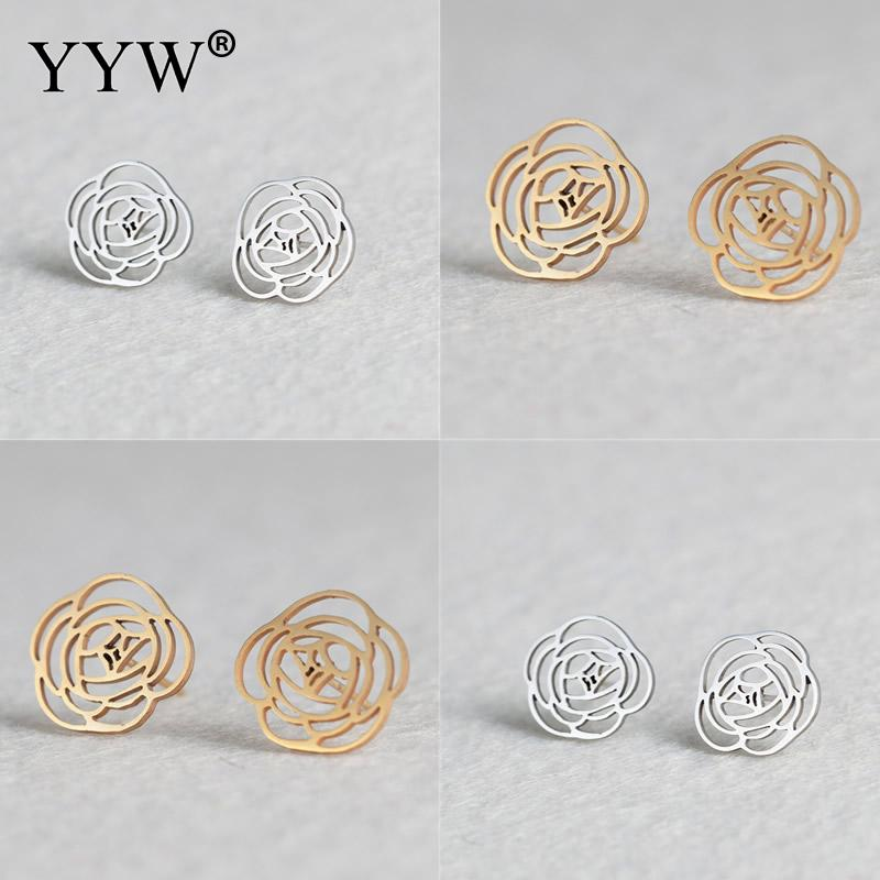 2018 Stainless Steel Stud Earring Flower Brass Post Pin Rose Plated For Woman Sliver Gold Color Plated Jewelry