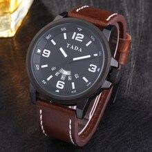 3atm водонепроницаемый relojs наручные часы кожа горячие продаж марка tada двойной дата часы женщины большое лицо мужские часы армия армия
