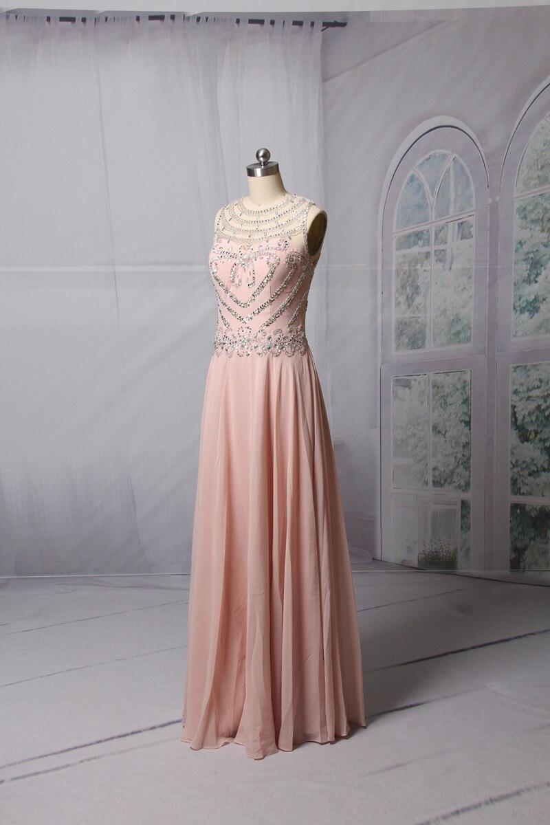 Ροζ ασημένια φορέματα A-line 2017 Αμάνικο - Ειδικές φορέματα περίπτωσης - Φωτογραφία 3