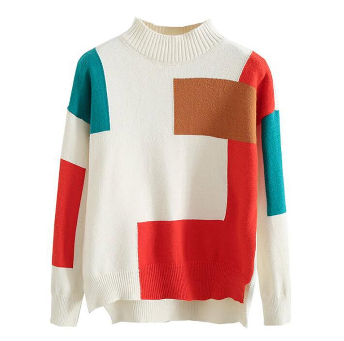Autumn and winter patchwork loose vintage irregular jersey sweater ugly Chiristmas short Turtleneck sweater loose sweater