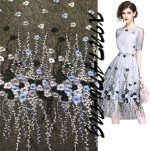 New fashion embroidery flower womens clothing dress costumes embroidered lace fabric black and white factory direct
