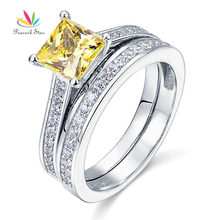 Павлин Star 1.5 ct Принцесса Cut желтая канарейка Твердые стерлингового серебра 925 2-Pcs обручальное кольцо набор CFR8194S