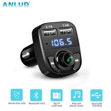 Anlud Handsfree fm-передатчик ЖК-дисплей Дисплей 5 В 3.1A USB Зарядное устройство Беспроводной Аудиомагнитолы автомобильные MP3-плееры Радиопередатчики Bluetooth гарнитура для авто