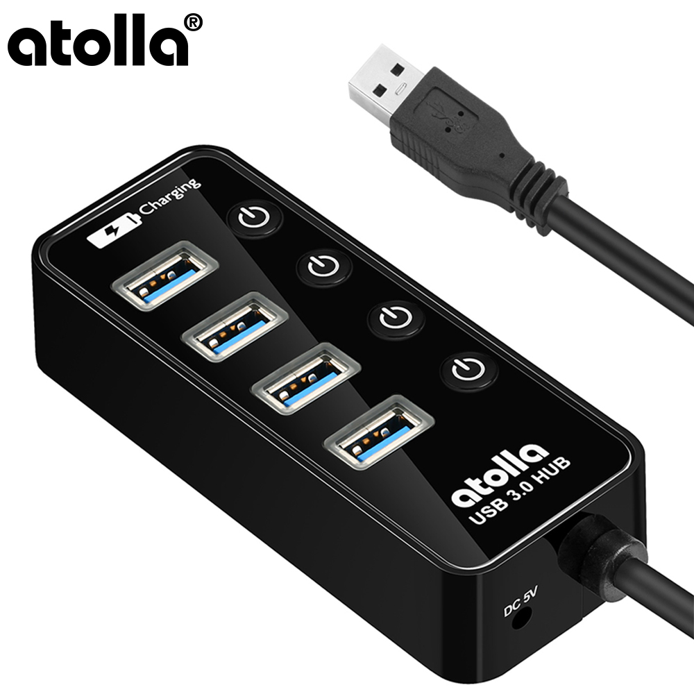 atolla USB Hub 4-Port SuperSpeed 3.0 Powered Splitter with 1 Charging Port On Off Switch AC Power Adapter