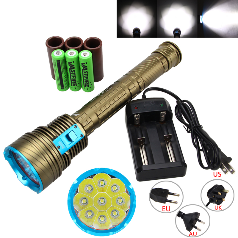Brightness 15000LM 4X T6 LED 3-Modes Underwater 100m Scuba Diving Flashlight Torch Light +3*18650 Battery +Charger powerful underwater flashlight led scuba diving lanterna xml l2 waterproof led torch dive light 18650 26650 rechargeable battery