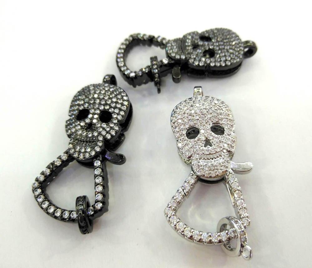 Lot de 4 pcs-les deux visage Cristal-CZ Micro Pave 3D Crâne Homard Griffe Fermoir, squelette Pave Fermoir/Pendentif Connecteur, Lien bijoux