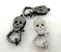 Lot of 4pcs both face Crystal CZ Micro Pave 3D Skull Lobster Claw Clasp,skeleton Pave Clasp/Pendant Connector, Link jewelry
