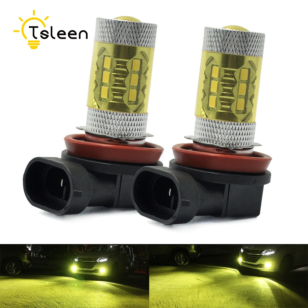 TSLEEN 2pcs 800Lm H11 16pcs Cree LED Car Lights LED Bulbs Yellow Daytime Running Lights DRL Fog Light 12V Driving Lamp