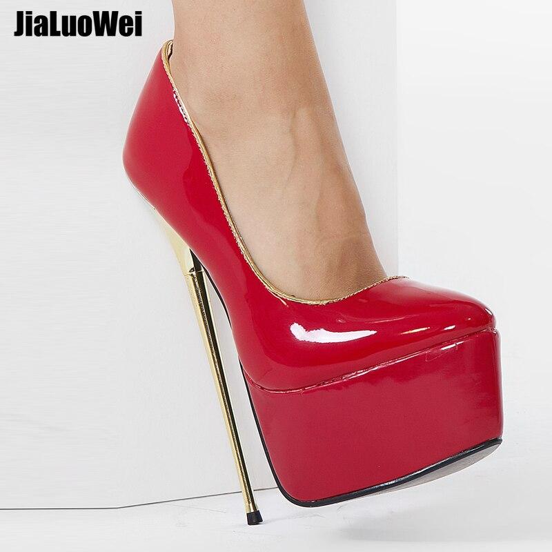 Jialuowei Women Platform Pumps 22cm High Heel Fashion PU Leather Gold Metal Heel Shallow Slip-on Dance Nightclub Shoes