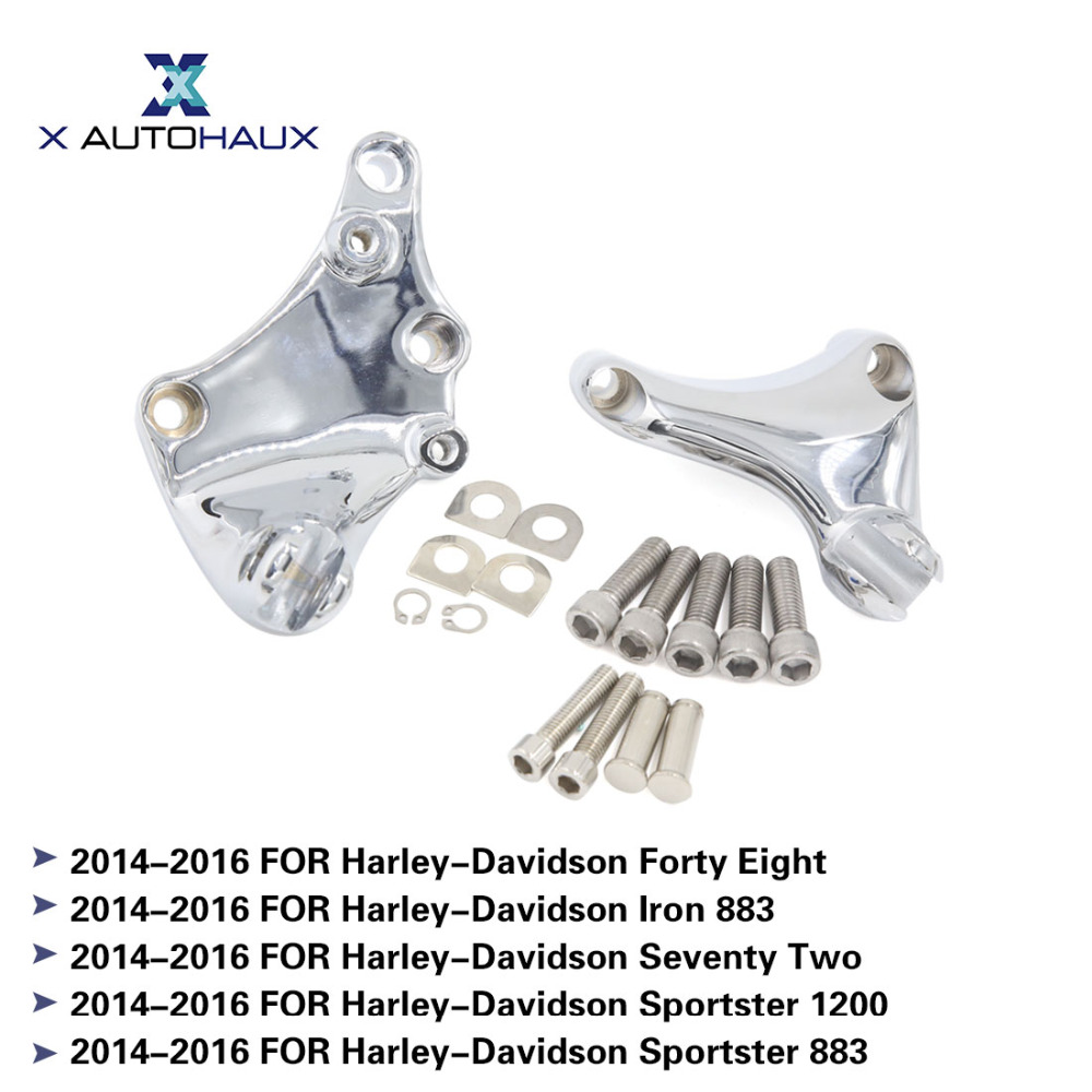 X AUTOHAUX 2Pcs Passenger Foot Pegs Mounts Foot Rests For Harley-Davidson Forty Eight Iron 883 Sportster 1200 883 2014 TO 2016 mtsooning timing cover and 1 derby cover for harley davidson xlh 883 sportster 1986 2004 xl 883 sportster custom 1998 2008 883l