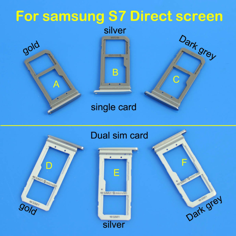 cltgxdd Sim Card Tray  For Samsung  S7   Single / Dual Signal / Dual Sim Card Reader Holder Slot Tray