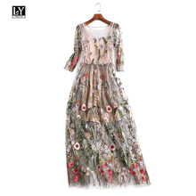 Ly Varey Lin Women Embroidery Lace Tulle Dress Elegant Bohemian Half Sleeves O Neck Floral Dress Ankle-length Party Dresses
