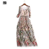 Ly Varey Lin Women Embroidery Lace Tulle Dress Elegant Bohemian Half Sleeves O Neck Floral Dress Ankle length Party Dresses
