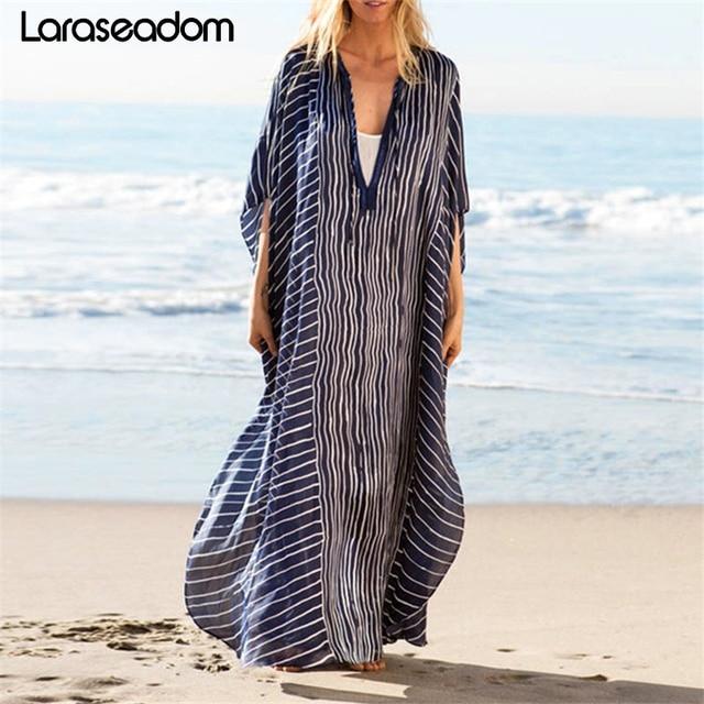 2019 плюс размер полосатая летняя пляжная одежда шифоновый кафтан пляжная Женская Туника купальный костюм плащ купальная одежда накидка # Z242