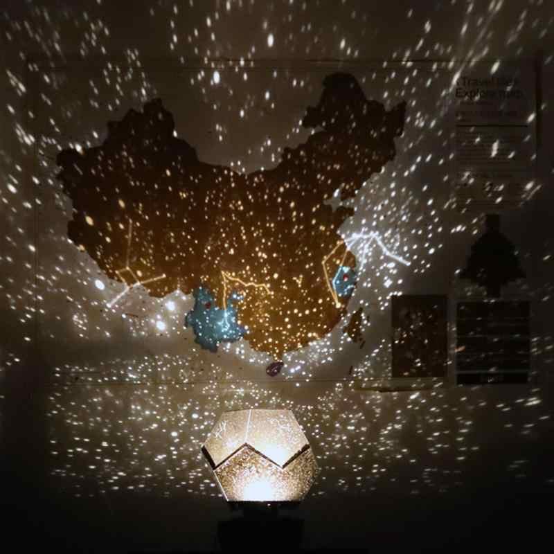 Романтическая вращающаяся Звезда Созвездие проекционная лампа Звездный ночник usb зарядка ночное небо лампа (желтый свет)