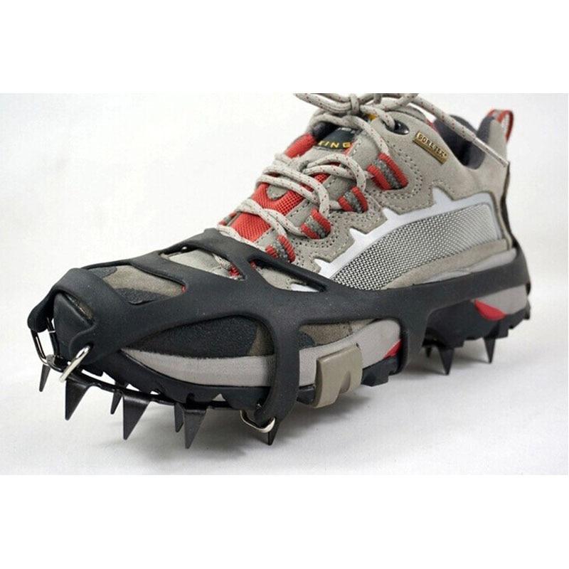 Prix pour En plein air Escalade Antidérapant Crampons Pied D'hiver 18 Dents Glace De Pêche Raquettes En Acier Au Manganèse Slip Couvre-chaussures