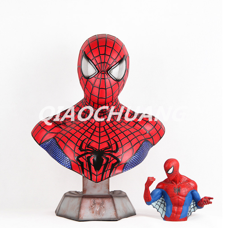 Statue Avengers Superhero Bust  1:1 LIFE SIZE Spider-Man Peter Parker Half-Length Photo Or Portrait Resin Collectible Model Toy statue avengers iron man war machine bust 1 1 life size half length photo or portrait collectible model toy wu849