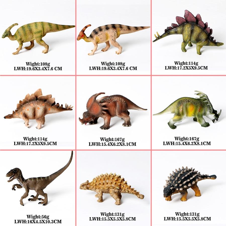 PVC Jurassic Dinosaur Simulation Model Action Figure Toys,Parasaurolophus,Stegosaurus,Styracosaurus,Velociraptor,Saichania 1pc saichania dinosaur action figure toys hand puppet kids educational model 28 319