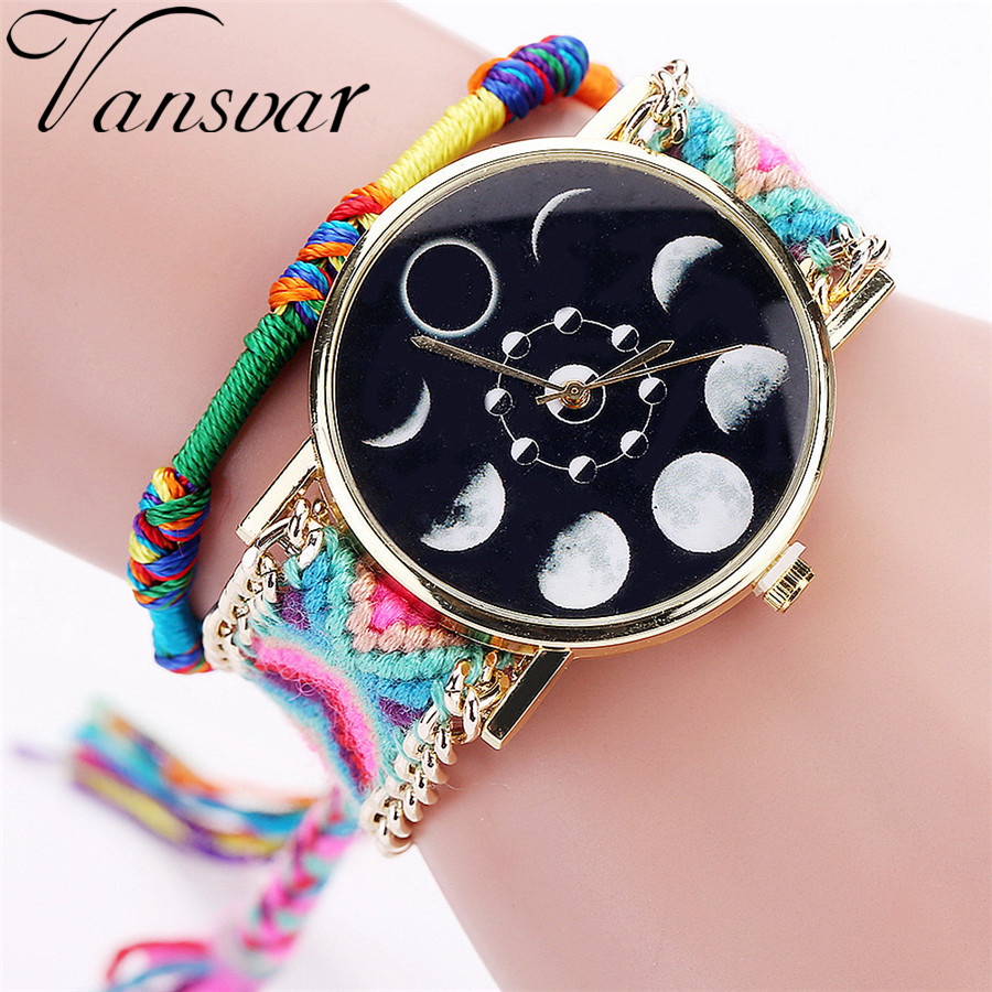 Vansvar Handmade Braided Moon Phase Astronomy Space Watch Fashion Rope Ladies Quarzt Wrist Watches Relogio Feminino 2075 mance 13colors new fashion brand handmade braided friendship bracelet watch geneva hand woven watch ladies quarzt watches reloj