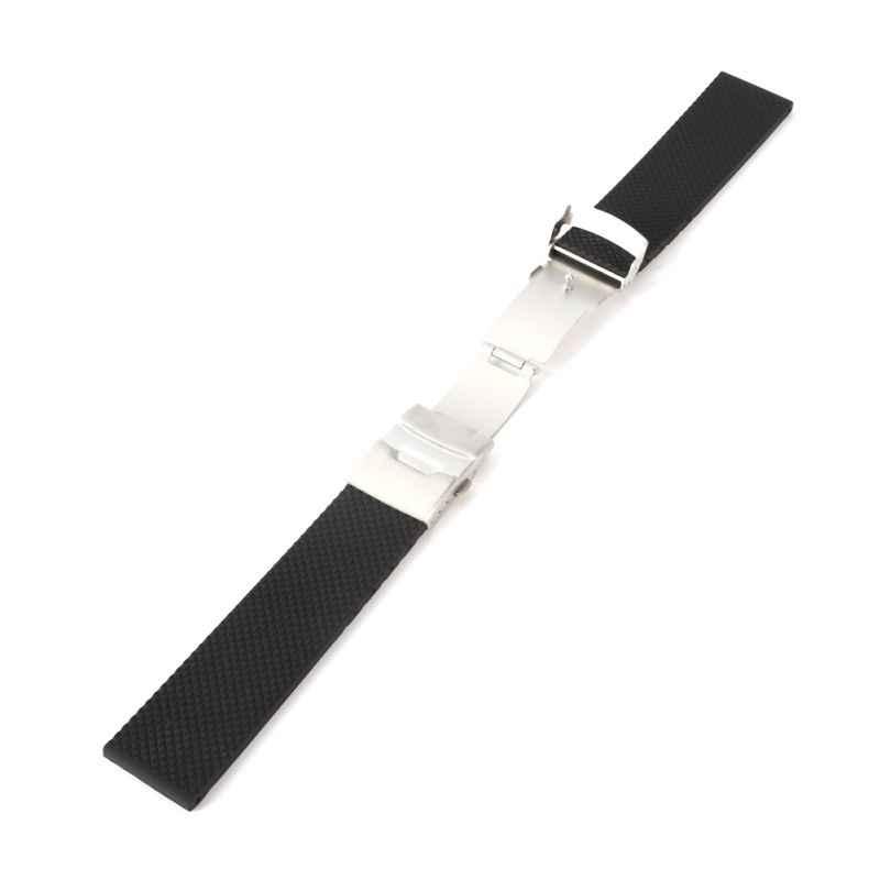 고무 시계 밴드 스트랩 스트레이트 엔드 팔찌 실리콘 스테인레스 스틸 더블 클릭 접는 걸쇠 20 22 24mm 남여 시계