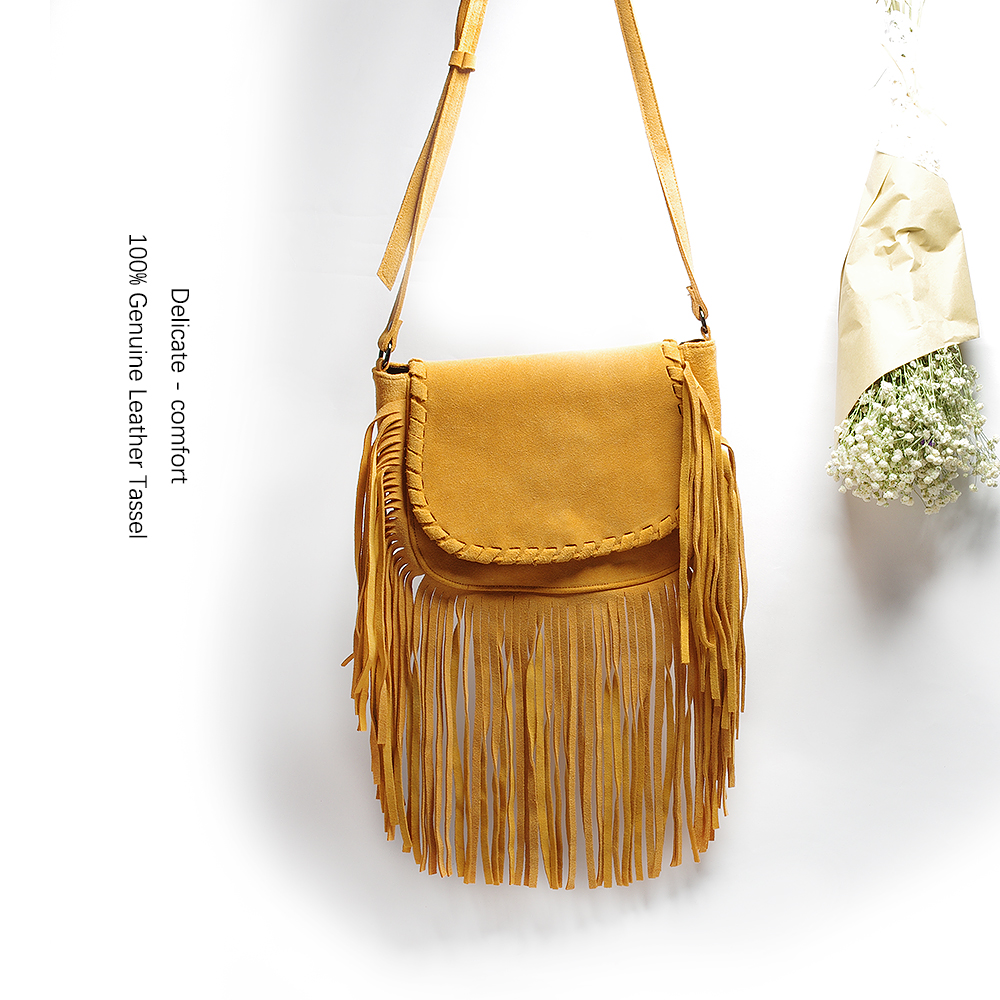 Genuine Leather Suede Vintage Bohemian Fringe Messenger Crossbody Bag Purse Women Tassel Boho Hippie Gypsy Fringed Handbag Women stylish bohemian rhombus pattern fringed edge winter scarf for women