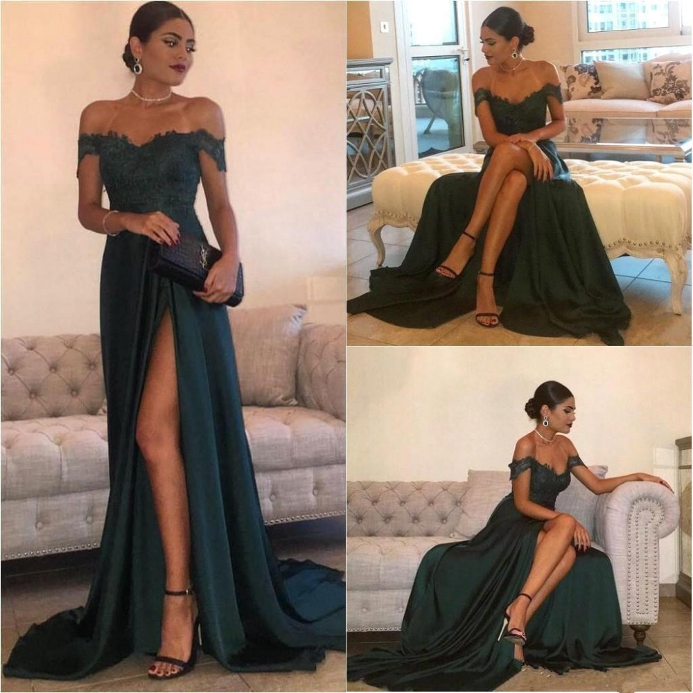 Green Robe De Soiree 2019 A-line Off The Shoulder Slit Satin Lace Sexy Long Women Party   Prom     Dresses     Prom   Gown Evening   Dresses