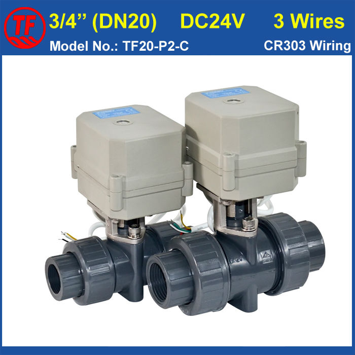 BSP/NPT 3/4'' DN20 Plastic Electric Motorized Valve TF20-P2-C DC24V CR303 Wiring 10NM On/Off 15 Sec Metal Gear CE For Water Work bsp npt 1 pvc dn25 electric shut off valve tf25 p2 c dc12v cr303 wiring 10nm on off 15 sec metal gear for water control