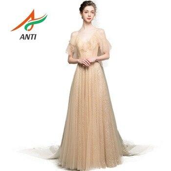 ANTI Champagne Summer V-Neck Gowns Women Elegant Tulle Evening Dress Long 2019 Sequined Illusion abiye gece elbisesi ever pretty