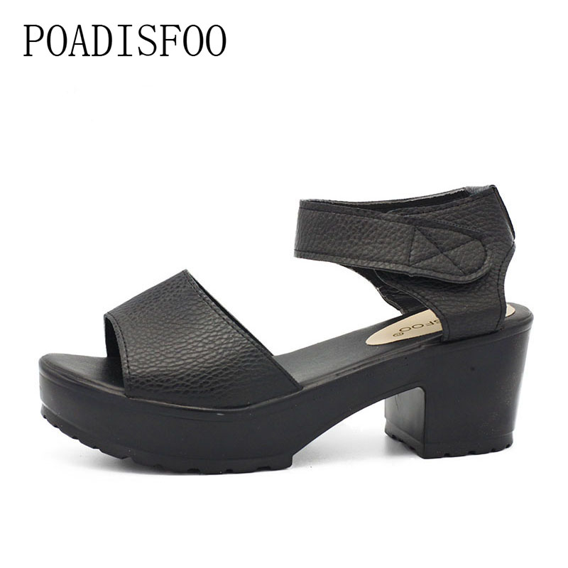 POADISFOO Summer Style Women's Plus Size Shoes Sandals Fish Head High Heels Solid Sandals Women Platforms Shoes For Lady.XL-21 poadisfoo woman shoes summer simple flat fish head sandals solid color elastic student shoes south korea sandals hykl 260