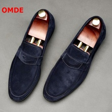 OMDE Suede Men Shoes New Fashion Round Toe Penny Loafers Men Casual Shoes Handmade Slip On Men's Slippers Party And Prom Shoes new fashion man handmade moccasin shoes cow suede leather round toe slip on loafers comfortable men s casual footwear js11