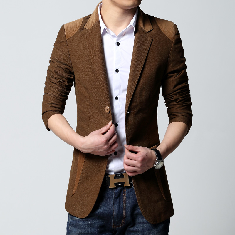 Mens cotton casual fashion blazer jacket new korean slim fit hot sale coat spring autumn ...
