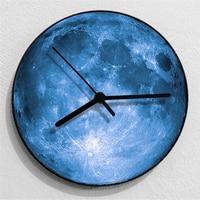 3D Texture Moon 12 inch Round Wall Clock Nordic Modern Mute Needle Quartz Wall Clock Fashion Home Decor Clock Blue Grey
