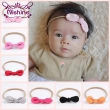 Nishine 20pcs/lot Newborn Chiffon Bow Head Band Hair Accessories Elastic Rabbit Ears Knot Hairband Diy Nylon Headband Photo Prop