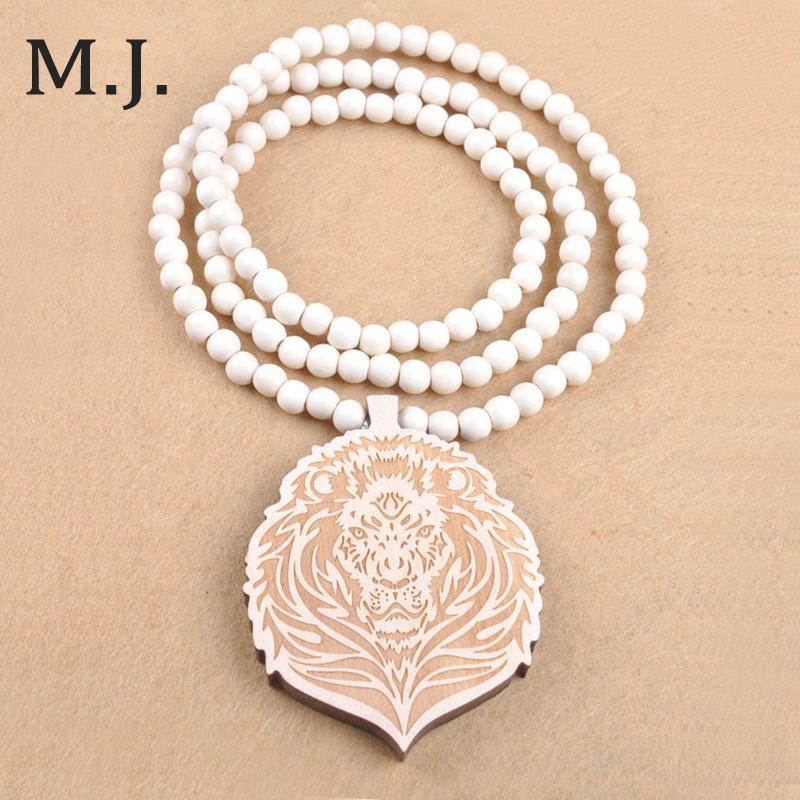 Wood King Lion Pendant Hip Hop Beads Long Chain Men Wooden Pendants Necklaces Women Jewelry Wholesale in Pendant Necklaces from Jewelry Accessories