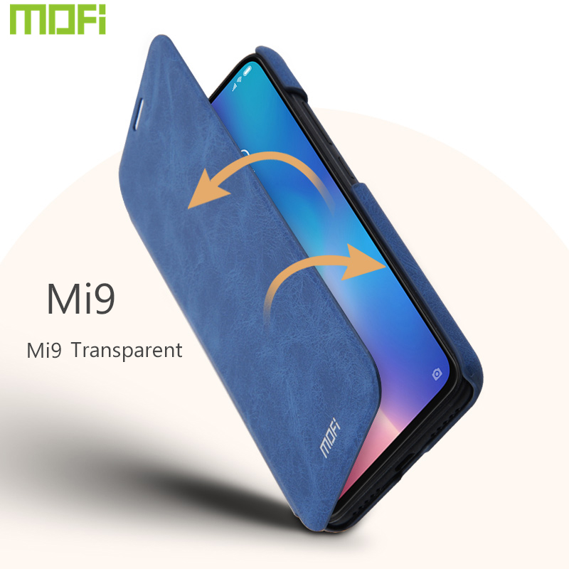 For Xiaomi Mi9 Transparent Case For Xiaomi Mi9 Case Flip Case Cover Mofi For Xiaomi Mi 9 Wallet Pocket Card Full Cover Leather in Flip Cases from Cellphones Telecommunications