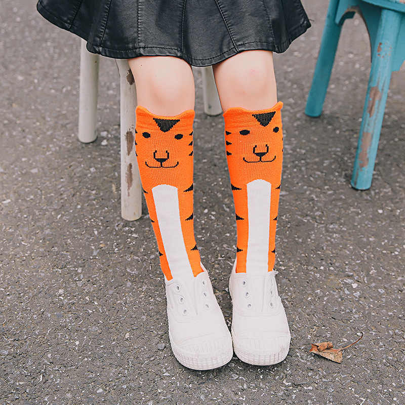 Kids Tiger Dog Socks Leg Warmers Children Knee High Socks Cartoon Brand Designer Socks Baby Girl Children Kawaii Sock Fox Unisex